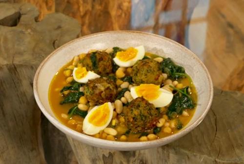 José Pizarro salt cod meatballs in a chickpea soup on Saturday Kitchen