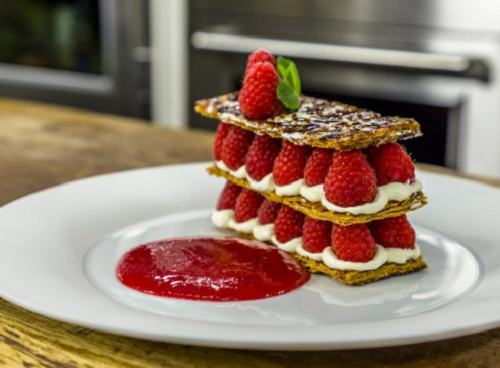 James Martin millefeuille with creme patissiere and raspberry sauce on James Martin's Satu ...