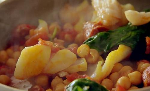 Tom Kerridge pollock with chorizo and chickpea stew on Saturday Kitchen