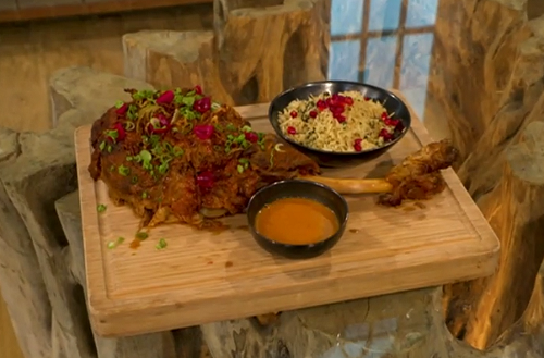 Vivek Singh roast leg of lamb with peppercorn and nutmeg sauce and pilau rice on Saturday Kitchen