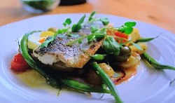 Simon Rimmer salad nicoise with sea bass on Tricks Of The Restaurant Trade