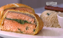 Gordon and Tilly Ramsay salmon en croUte with rice and herb butter sauce on John and Lisa' ...
