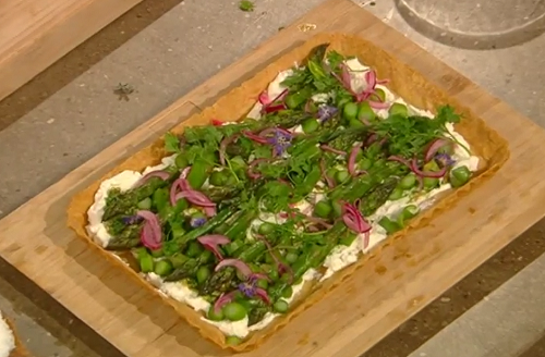 Rosie Birkett's asparagus and goats cheese with nutty buckwheat pastry tart on Saturday ki ...