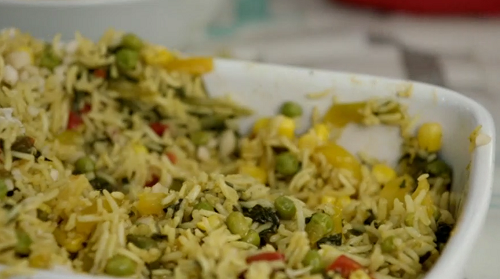Jen's vegetable biryani cooked in a microwave on Eat Well for Less?