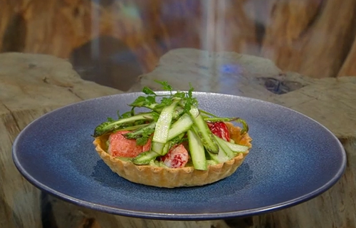 Nathan Outlaw's Lobster and asparagus tart on Saturday Kitchen