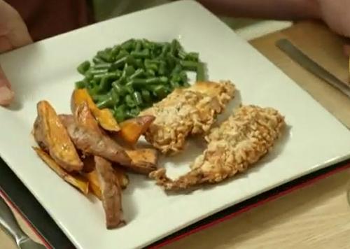 Steve Carter's crispy chicken with sweet potato wedges on Eat Well For Less?