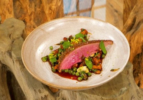 Gregory Marchand honey roast duck with girolle fricasse on Saturday Kitchen
