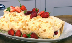 James Martin fresh fruit meringue roulade on James Martin's Saturday Morning