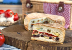 John Torode and Lisa Faulkner muffuletta sandwich on John and Lisa's Weekend Kitchen