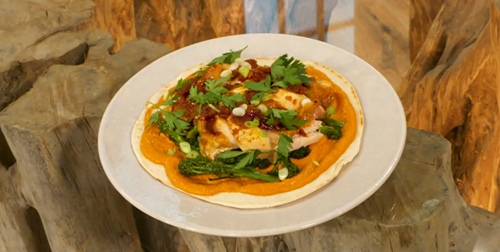 Shauna Froydenlund nduja honey roasted chicken with romesco sauce and flatbread on Saturday kitchen