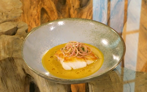 Tom Brown roast cod with curry sauce and crispy shallots on Saturday Kitchen