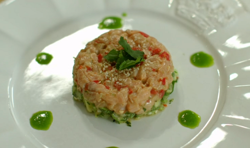Priya Tew's salmon and avocado tartar with a avocado and cucumber salad on Eat Well For Less?