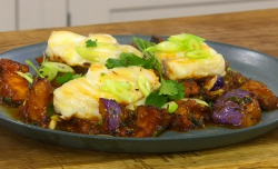 James Martin deep fried aubergines with monkfish on James Martin's Saturday Morning
