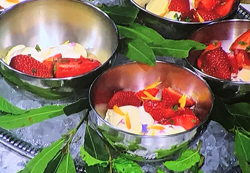Jekka McVicars's Bay Ice Cream with mint and strawberries on Sunday Brunch