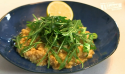 Gaynor Faye's crab risotto with Chinese garlic on John and Lisa's Weekend Kitchen