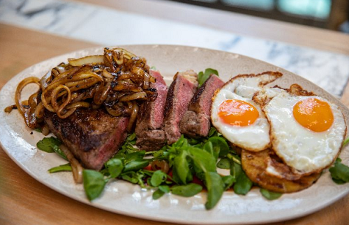 John Torode's BBQ steak with onions, pineapple and  fried eggs on John and Lisa's We ...