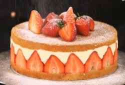 John Whaite's orange curd and strawberry fraisier with marshmallows on John and Lisa' ...