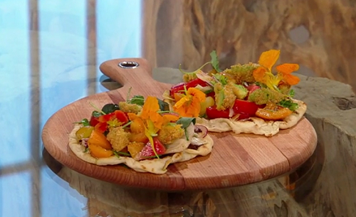 Frederick Forster's tapenade and flatbreads with heritage tomato, watermelon salad and dee ...