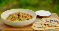 Nadiya Hussain's speedy lamb bhuna with buttered naan bread and natural yoghurt on Saturda ...