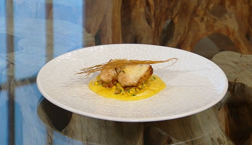 Tom Sellers monkfish with corn and  mushrooms on Saturday Kitchen