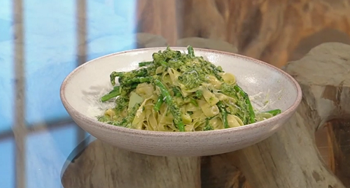 Theo Randall's fresh tagliatelle with pesto and green beans on Saturday Kitchen