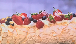 Helen Goh's rolled pavlova with summer berries and rosewater cream on Sunday Brunch