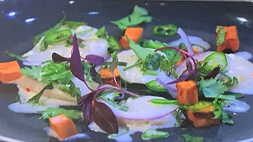 Simon Rimmer's scallop ceviche with coconut on Sunday Brunch