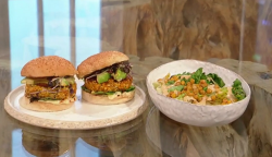 Anna Jones veggie burgers with Caesar salad on Saturday Kitchen
