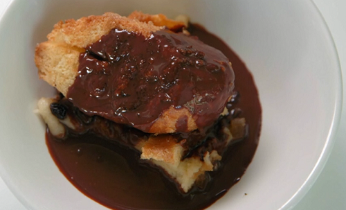 Neil and joey's bread and butter pudding with chocolate sauce on Celebrity Masterchef 2019