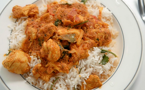jenny and Alex's butter chicken curry with rice on Celebrity Masterchef 2019