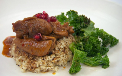 Alex George's chicken in a pomegranate and harissa sauce with cauliflower rice and kale on ...