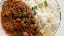 Dom and Josie's lamb chilli with rice on Celebrity Masterchef 2019