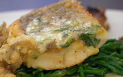 Jenny's pan fried cod with oysters and a wild garlic hollandaise sauce on Celebrity Master ...