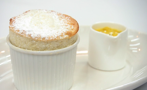 Kelly's banana souffle with passion fruit sauce on Celebrity Masterchef 2019