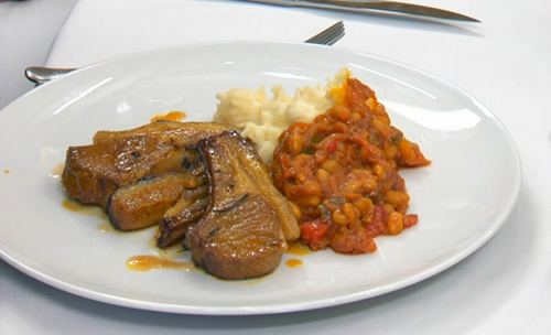 Oti Mabuse spicy lamb chops with chakalaka and mash potatoes on Celebrity Masterchef 2019