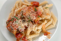Neil Ruddock's beef meatballs in tomato sauce and pasta on Masterchef 2019