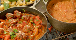 Hairy Bikers cowboy meatballs and beans with bourbon whisky and tomato sauce on Route 66