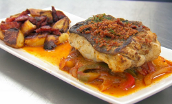 Neil Ruddock's pan fried cod with potatoes and  a pepper and tomato sauce on Celebrity Mas ...