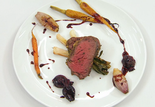 Greg's herb crusted beef with roasted vegetables and red wine sauce on Celebrity Masterche ...