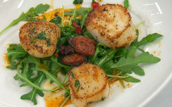 Neil Ruddock's scallops with rocket and chorizo sauce on Celebrity Masterchef 2019
