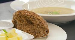 Dom Parker's Stilton, celery and cider soup with soda bread on Celebrity Masterchef 2019