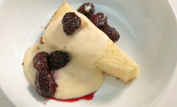 Red Team's sponge cake with custard and berries on Celebrity Masterchef 2019