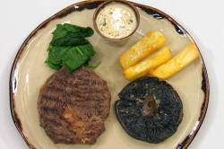 Neil Ruddock's steak and chips with mushrooms on Celebrity Masterchef 2019