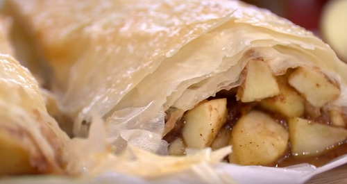 Phil's  autumn apple strudel with salted caramel butterscotch sauce on This Morning