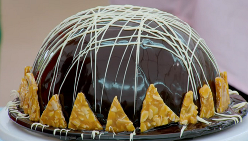 Steph's mirror bombe with dark chocolate mousse and coffee bavarois on The Great British B ...