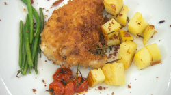 Neil Ruddock's chicken kiev with beans, potatoes and tomatoes on Celebrity Masterchef 2019