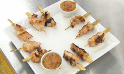 Neil Ruddock's chicken skewers with a peanut satay sauce canapes on Celebrity Masterchef 2019