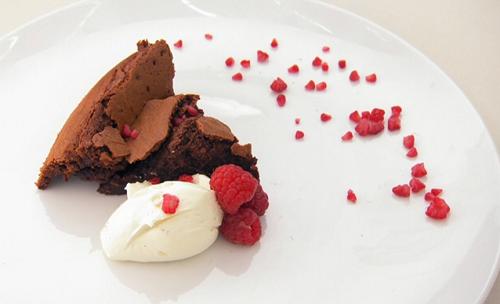 Vicky Pattison's dark chocolate torte, Chantilly creme with raspberries dessert on Celebri ...