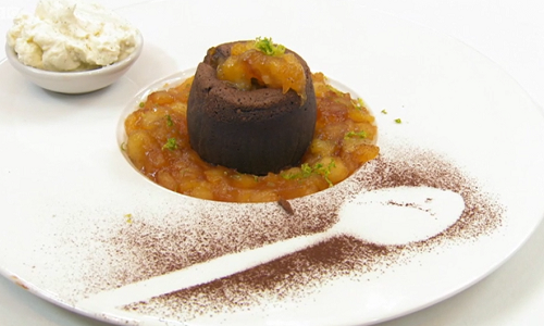Dillian Whyte's  chocolate fondant with banana and vanilla cream on Celebrity Masterchef 2019