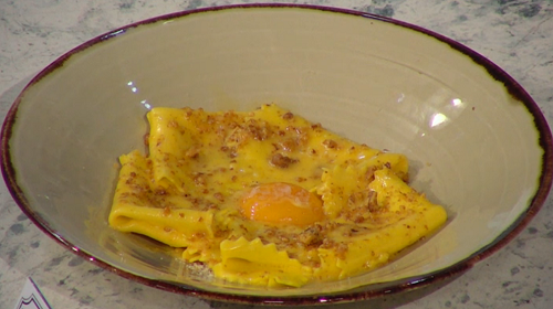 Pritesh Mody  pasta with walnut and a egg and butter sauce on Sunday Brunch